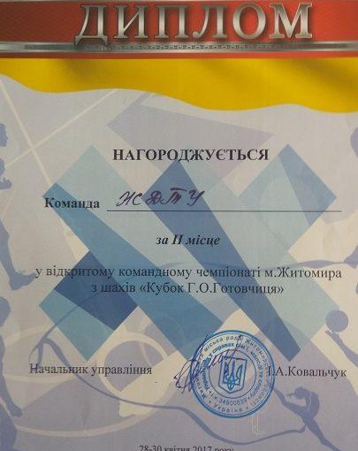 Команда ЖДТУ на Чемпіонаті міста з шахів «Кубок Готовчиця» здобула ІІ місце