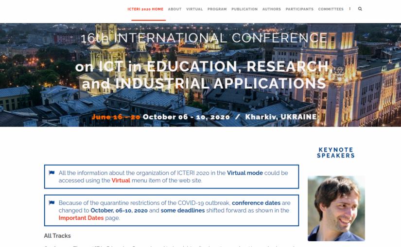 """Викладачі ФІКТ взяли участь у 16 Міжнародній конференції """"ICT in Education, Research, and Industrial Applications"""""""